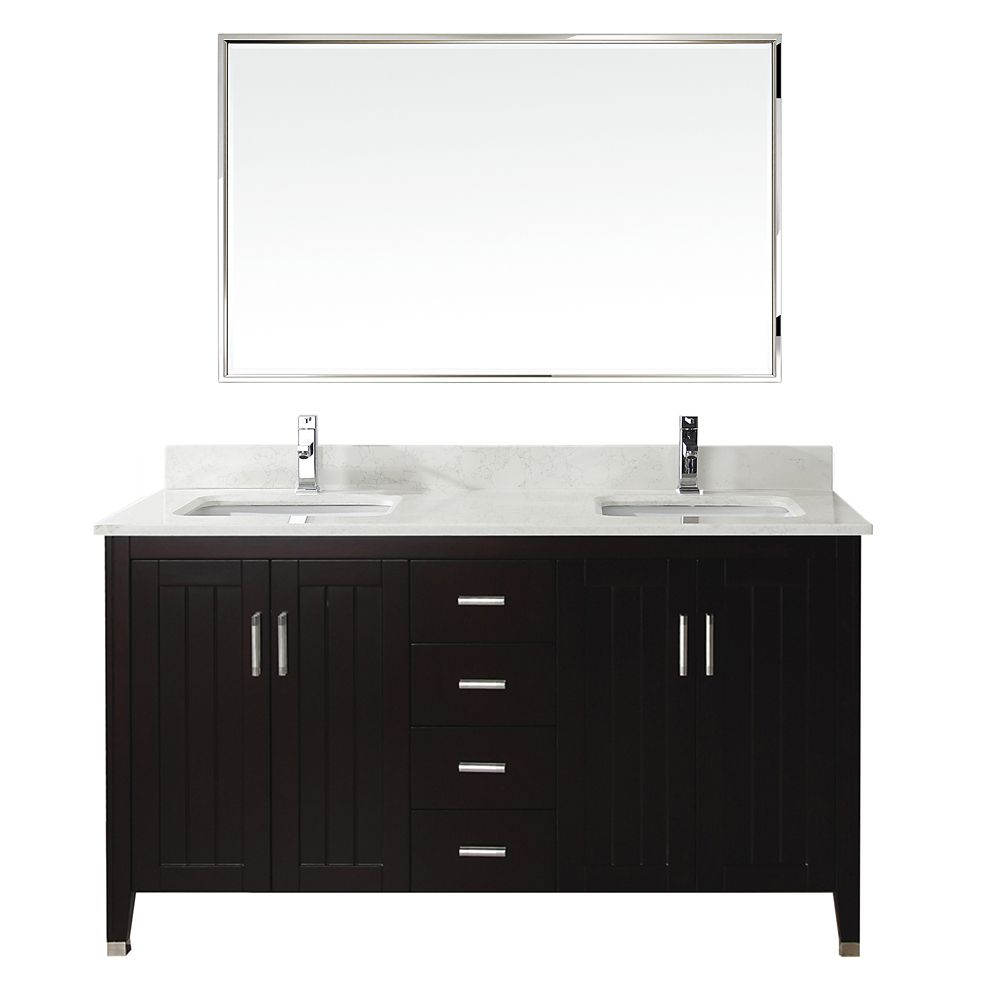 Jackie 60-inch W Vanity Ensemble in Chai Finish with Mirror