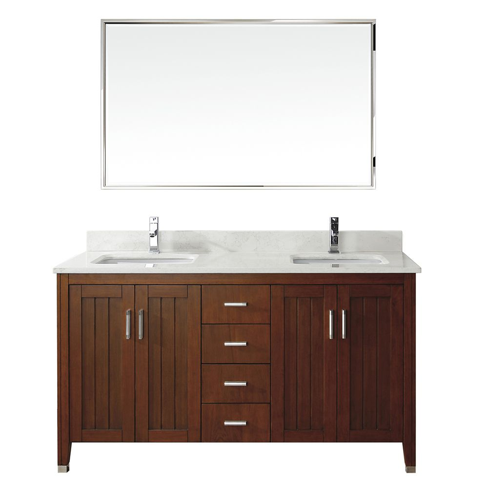 Jackie 60-inch W Double Vanity in Cherry with Marble Top in Carrara with Porcelain Basin and Mirr...