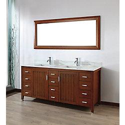Art Bathe Jackie 72-inch W 11-Drawer 2-Door Vanity in Brown With Marble Top in Grey, Double Basins