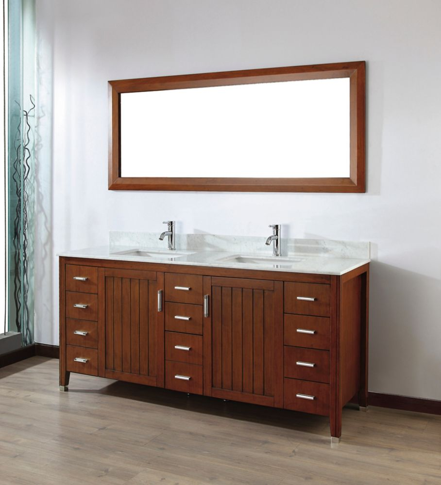 Jackie 72-inch W Double Vanity in Cherry with Marble Top in Carrara with Porcelain Basin and Mirr...