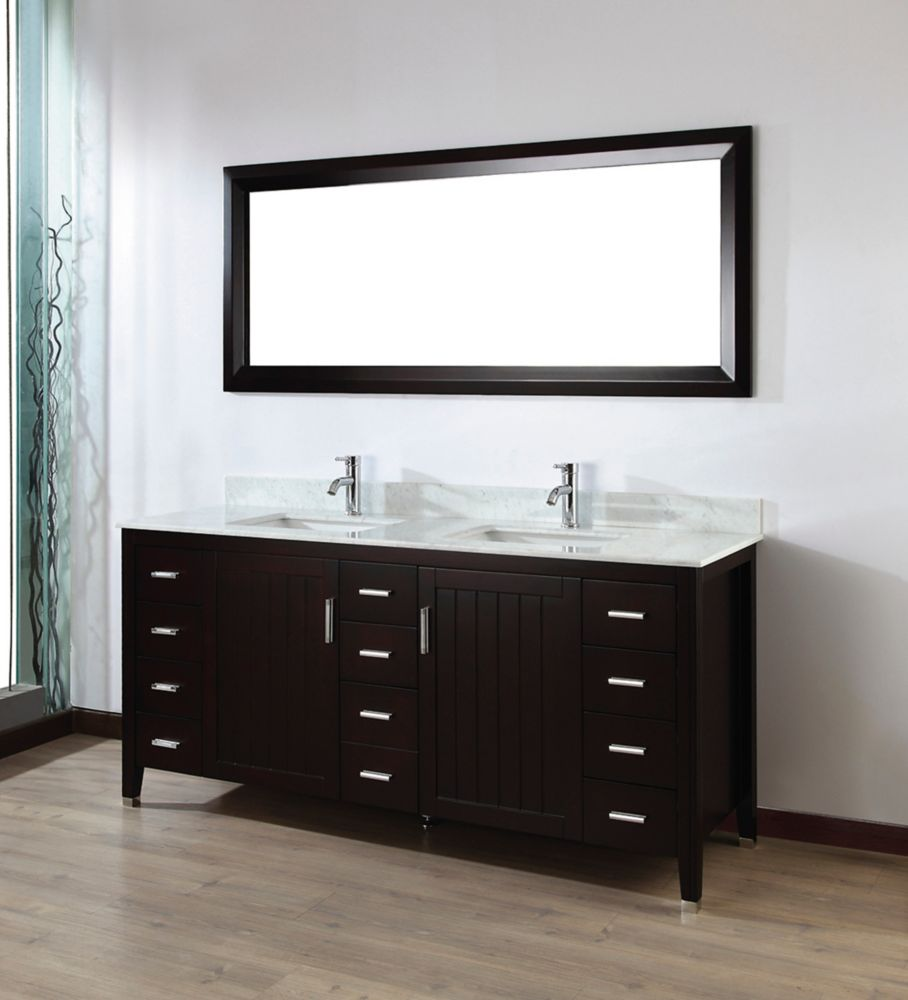 Jackie 72-inch W Vanity Ensemble in Chai Finish with Mirror