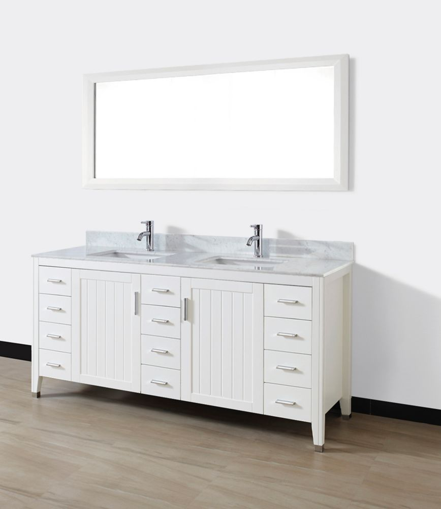 Jackie 72-inch W Double Vanity in White with Marble Top in Carrara with Porcelain Basins and Mirr...