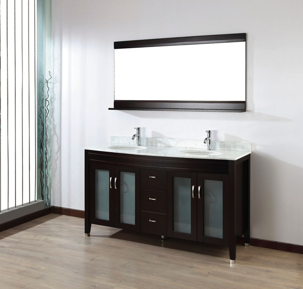 Alba 63-inch W Vanity Ensemble in Chai Finish with Mirror
