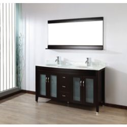 Art Bathe Alba 63-inch W 4-Drawer 4-Door Vanity in Brown With Marble Top in Grey, Double Basins