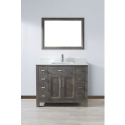 Art Bathe Kelly 42 In. French Gray Vanity Ensemble with Mirror and Faucet