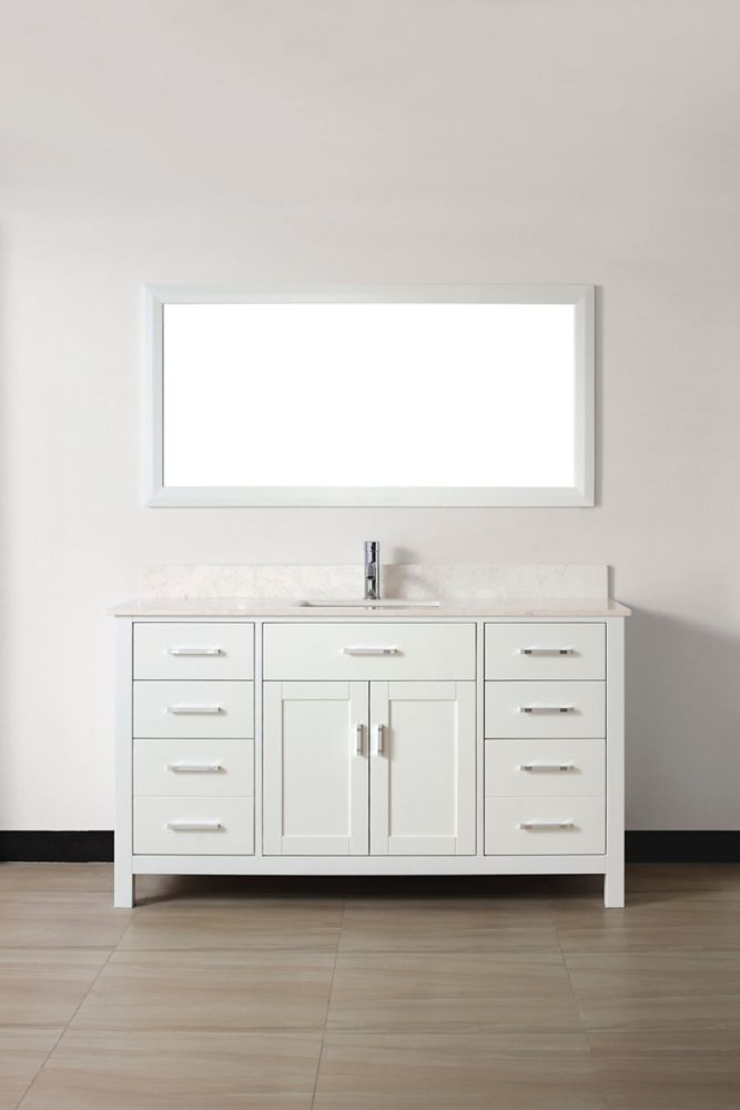 Art Bathe Kalize 60 White Vanity Ensemble With Mirror And Faucet The Home Depot Canada