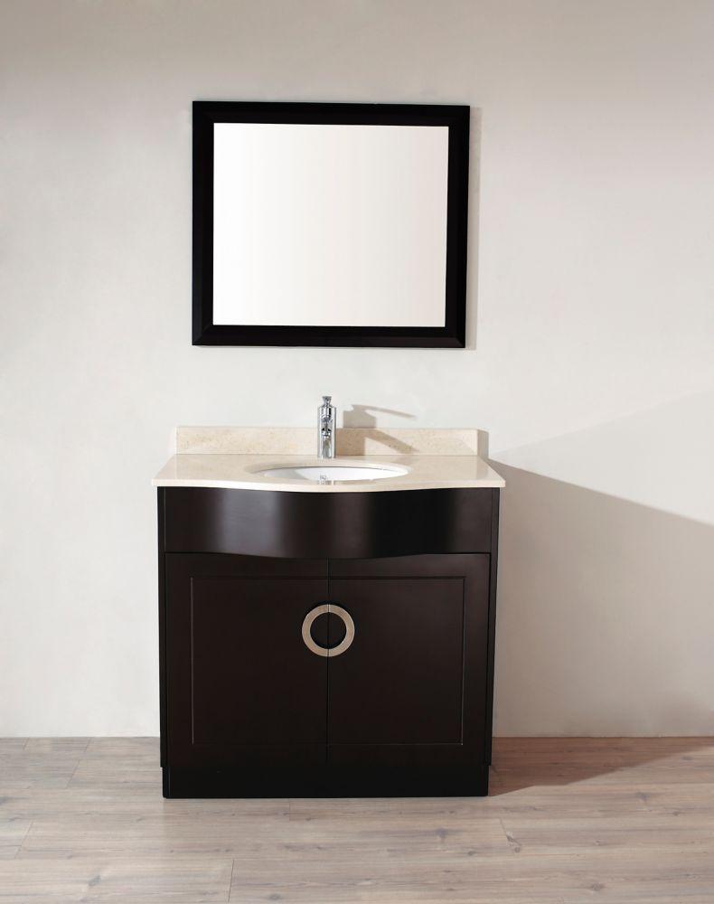 Vanité Zoe 36 de couleur expresso avec miroir et robinet