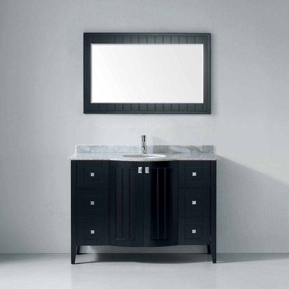 Bridgeport 48-inch W Vanity Ensemble in Espresso Finish with Mirror