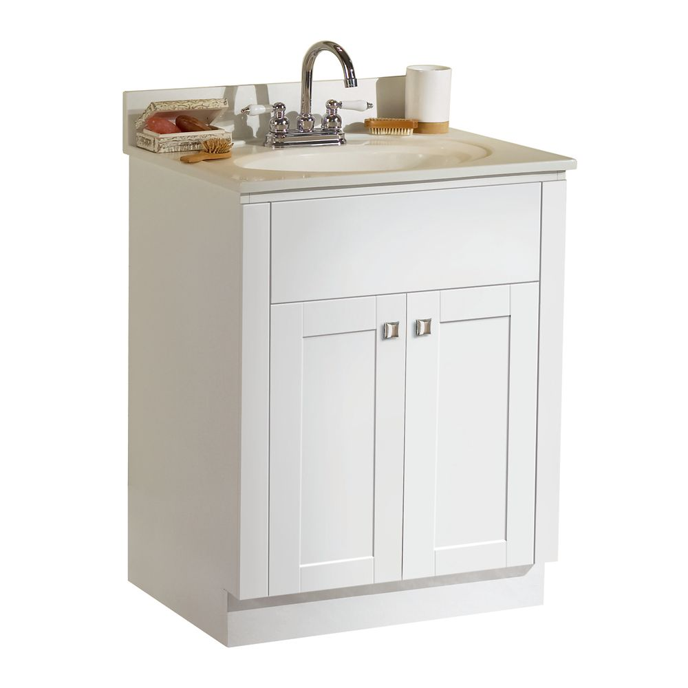 Shaker 25-Inch  Vanity Cabinet in White with Top in White