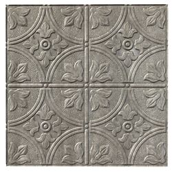 Fasade Traditional 2 Cross Hatch Silver Ceiling Tile - 2x2