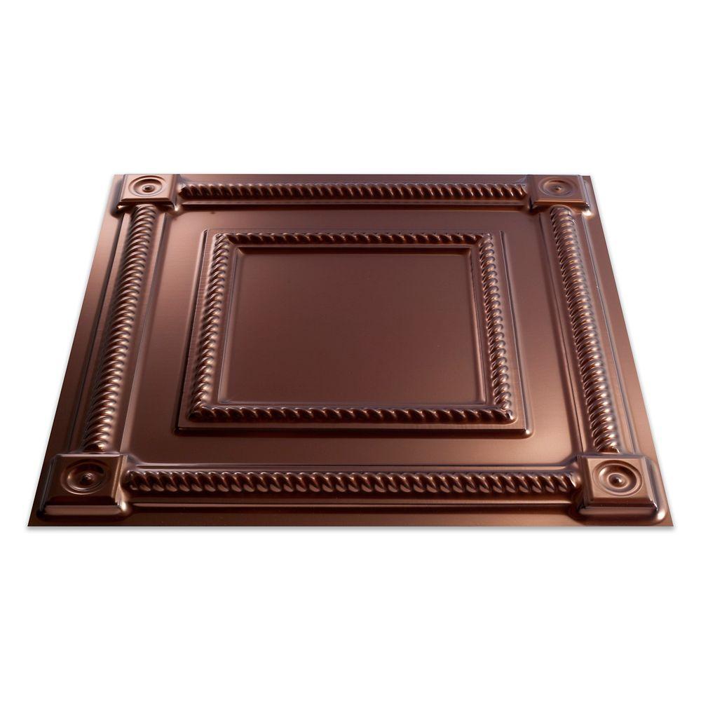 Tuile pour plafond à poser, 2x2, Coffer, Oil Rubbed Bronze