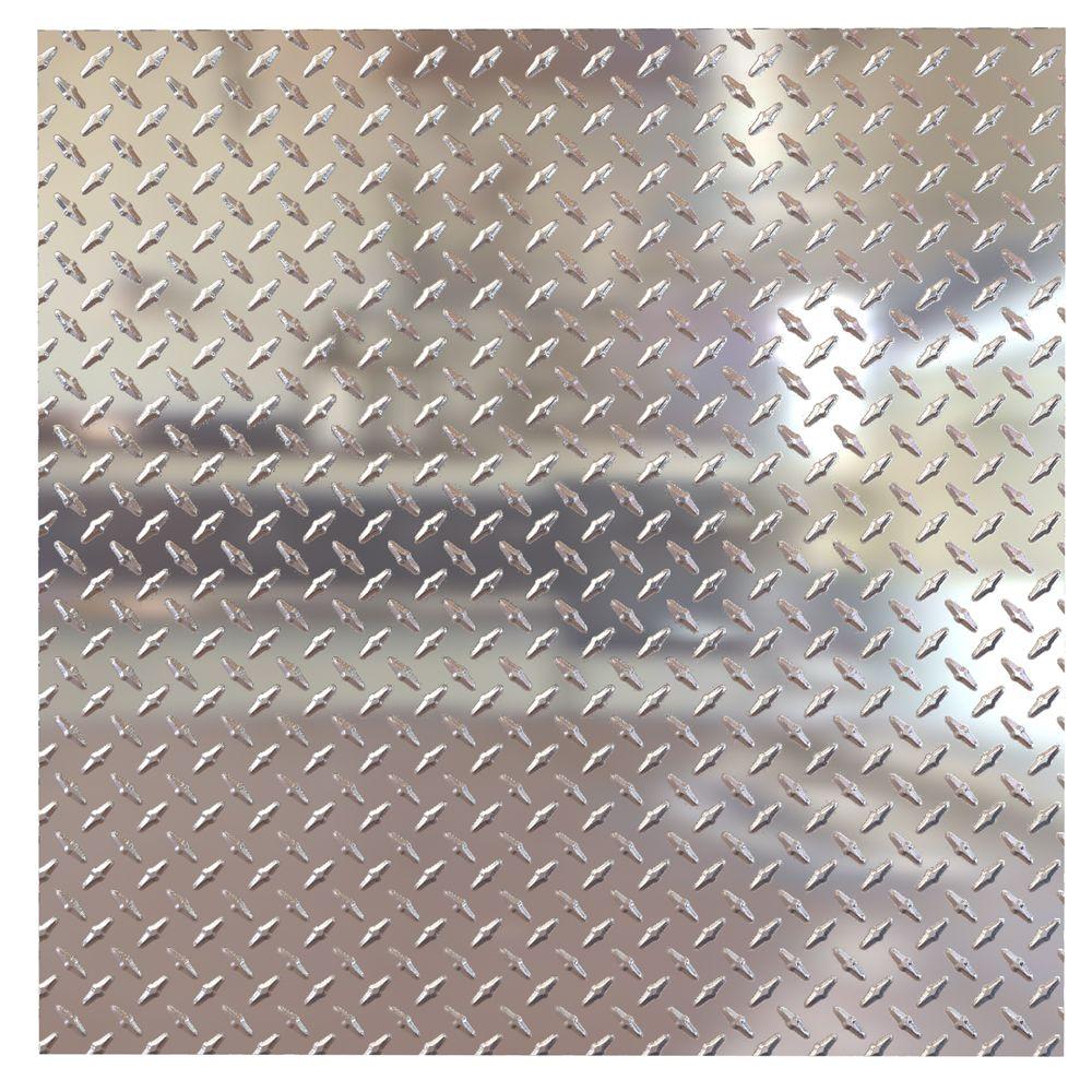 Tuile pour plafond à poser, 2x2, Diamond Plate, Chrome