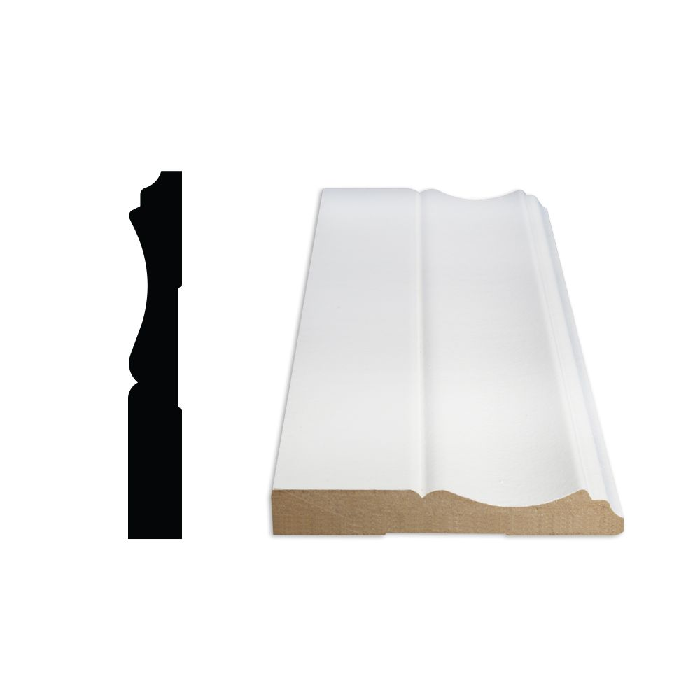 Plinthe apprêtée en MDF 1/2 po x 3-1/4 po
