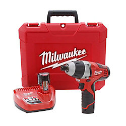 Milwaukee Tool M12 12V Lithium-Ion Cordless 1/4-Inch Hex No-Hub Driver Kit W/ (2) 1.5Ah Batteries & Hard Case