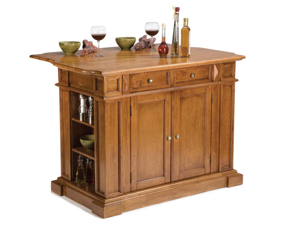 Kitchen Island with Drop Leaf in Distressed Oak 5004-94 Canada Discount