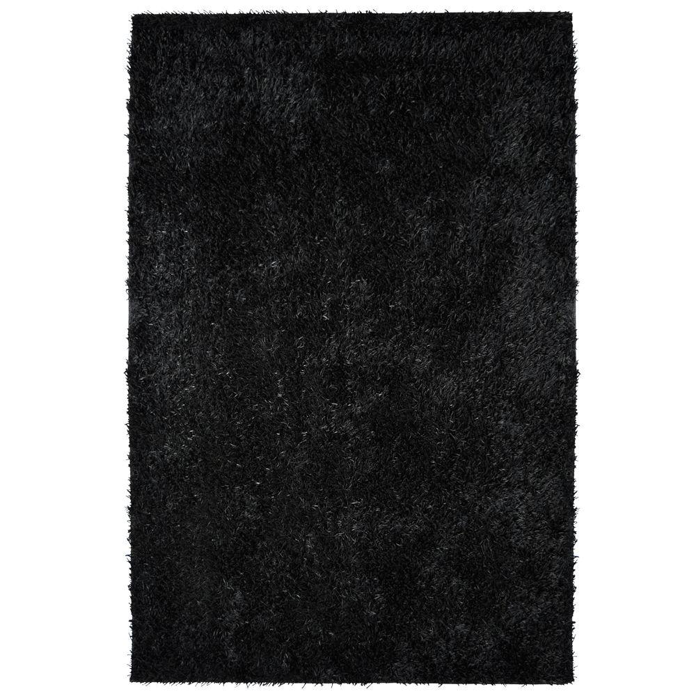 City Sheen Black 9 ft. x 12 ft. Indoor Shag Rectangular Area Rug