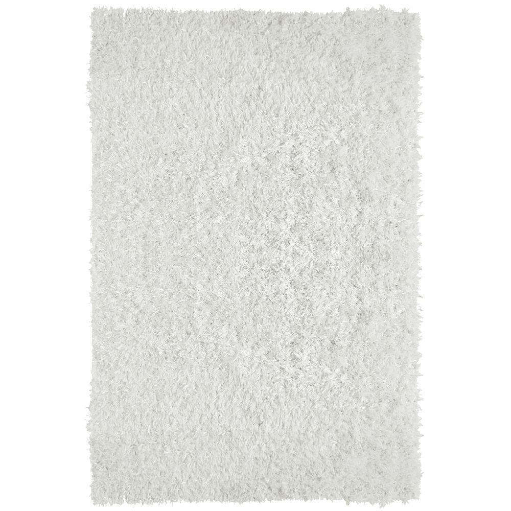 Lanart Rug City Sheen White 8 ft. x 10 ft. Indoor Shag Rectangular Area Rug