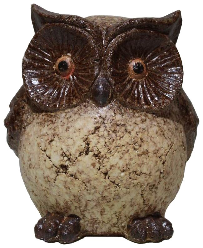 Clay Owl Statue - 9 Inch