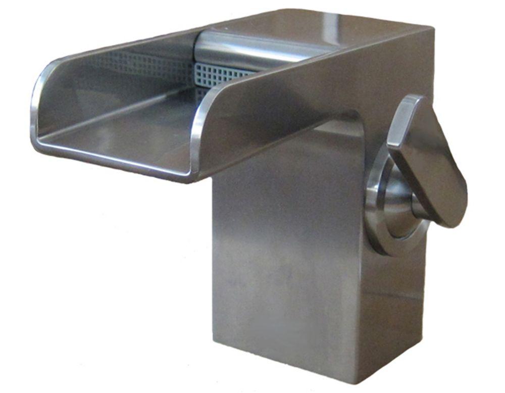 Art Bathe Rainfall Single Hole 1-Lever Low Arc Waterfall-Flow Bathroom Faucet in Brushed Nickel