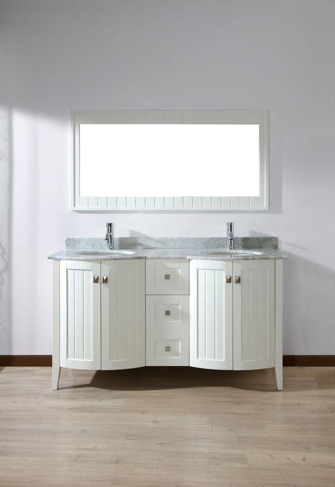 Bridgeport 60-inch W Double Vanity Ensemble in White Finish with Mirror