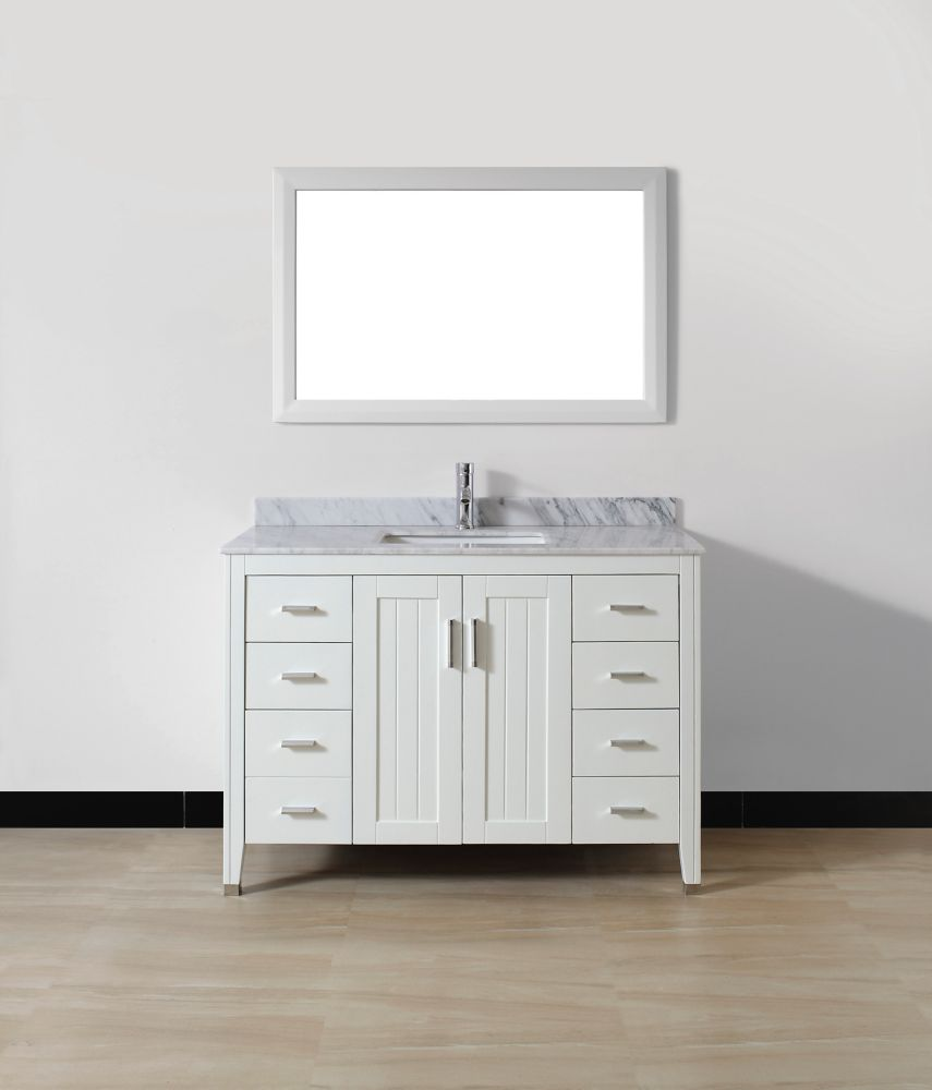 Jackie 48-inch W Vanity in White with Marble Top in Carrara with Porcelain Basin and Mirror
