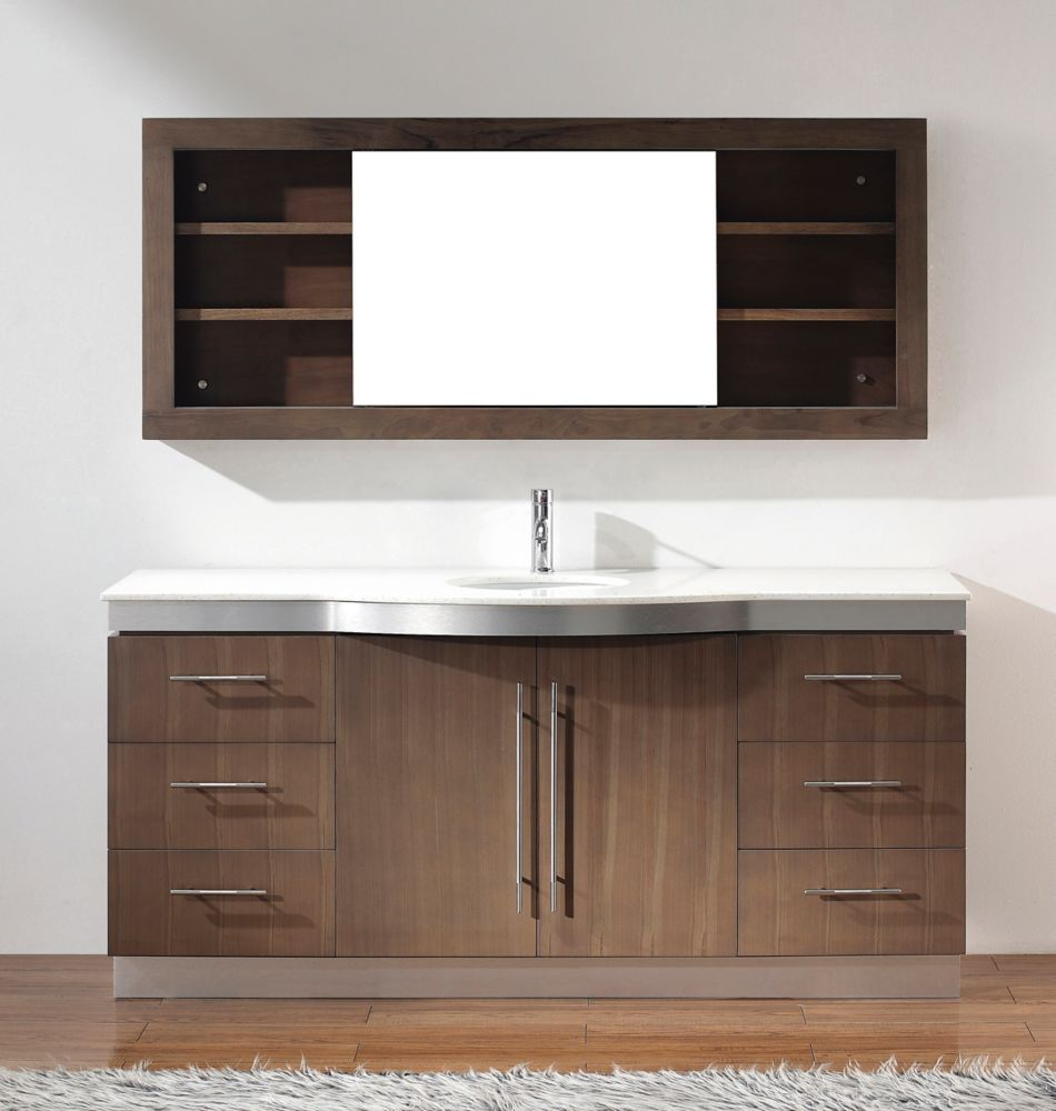 Dinara 72-inch W Vanity Ensemble in Smoked Ash Finish with Mirror and Faucet
