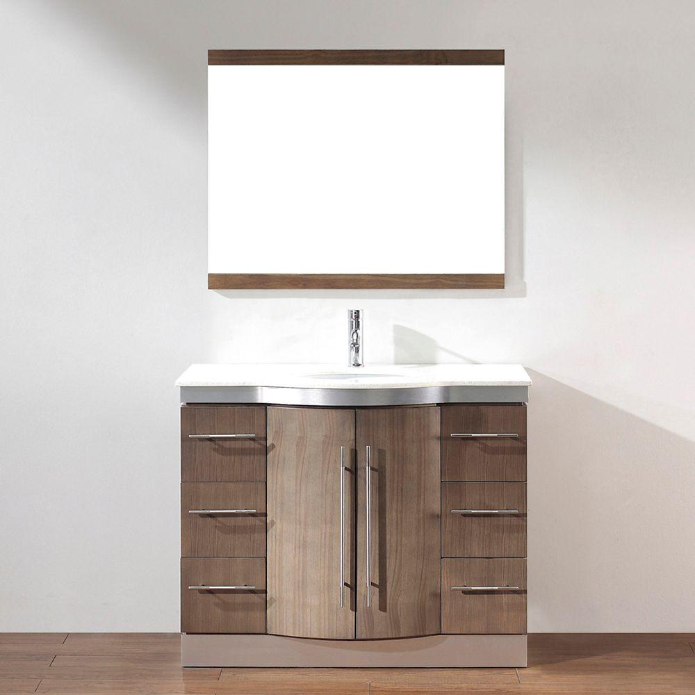 Art Bathe Dinara 42-inch W 4-Drawer 2-Door Vanity in Grey With Quartz Top in Brown With Faucet And Mirror