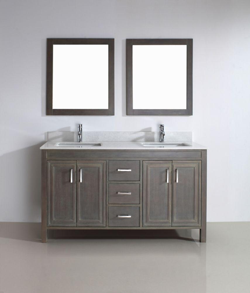 Art Bathe Corniche 60-inch W 3-Drawer 4-Door Vanity in Grey With Artificial Stone Top in Off-White, 2 Basins