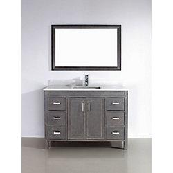 Art Bathe Corniche 48-inch W 6-Drawer 2-Door Vanity in Grey With Artificial Stone Top in Off-White