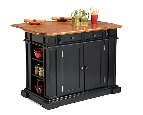 Home Styles Kitchen Island With Drop Leaf In Black And Distressed - Home depot canada kitchen island