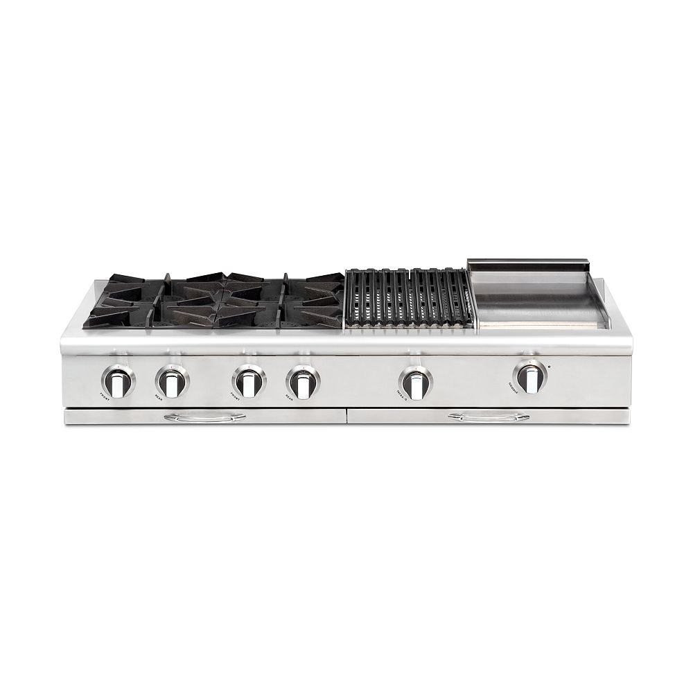 Capital Culinarian Series: 48 Inch 4 Open Top Burners Range Top With Broil Burner & Thermo Griddle NG