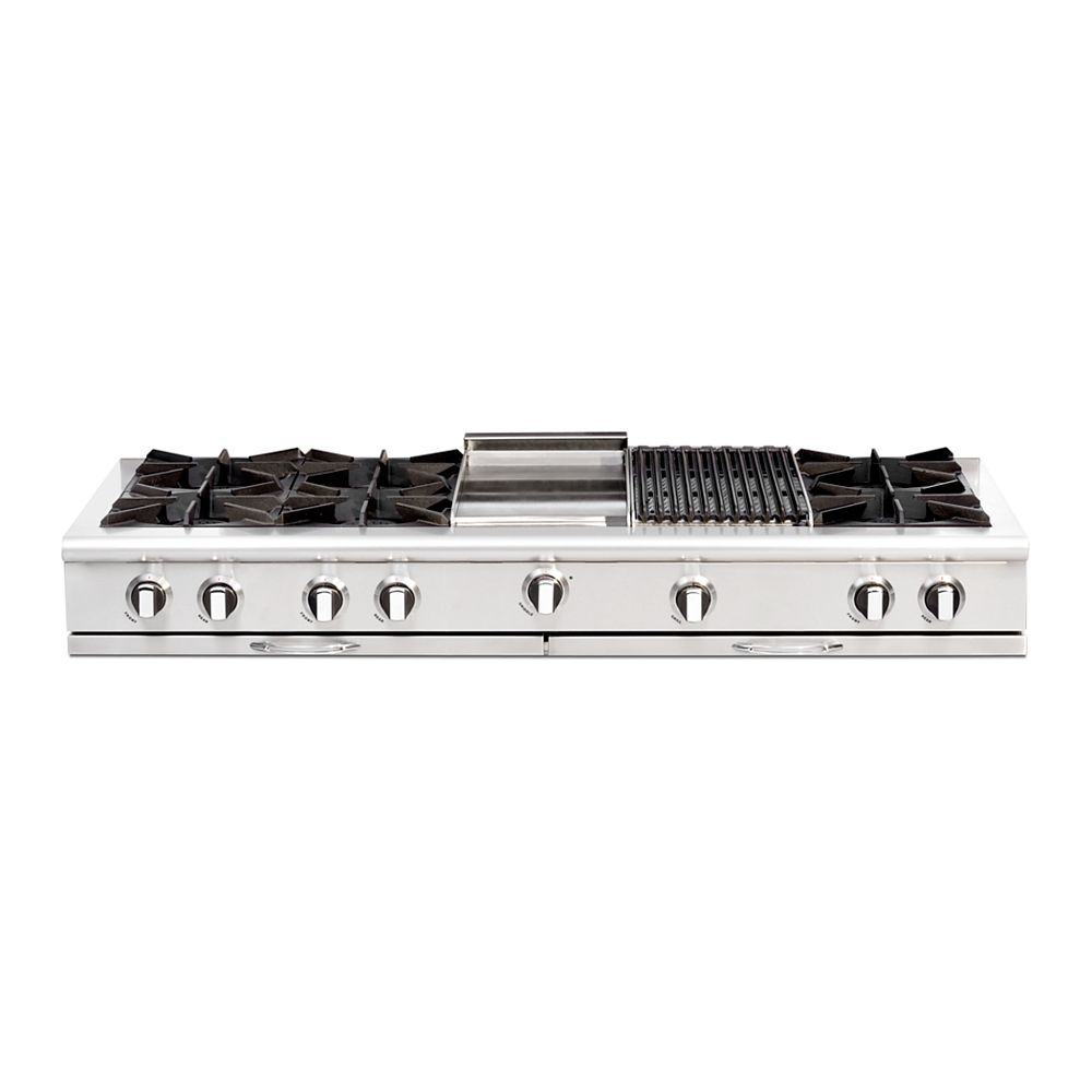"""Capital Culinarian Series: 60"""" 6 Open Top Burners Range Top with 12""""Broil Burner & 12"""" Thermo Griddle NG"""