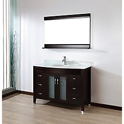 Art Bathe Alba 48-inch W 4-Drawer 2-Door Vanity in Brown With Marble Top in Grey With Faucet And Mirror