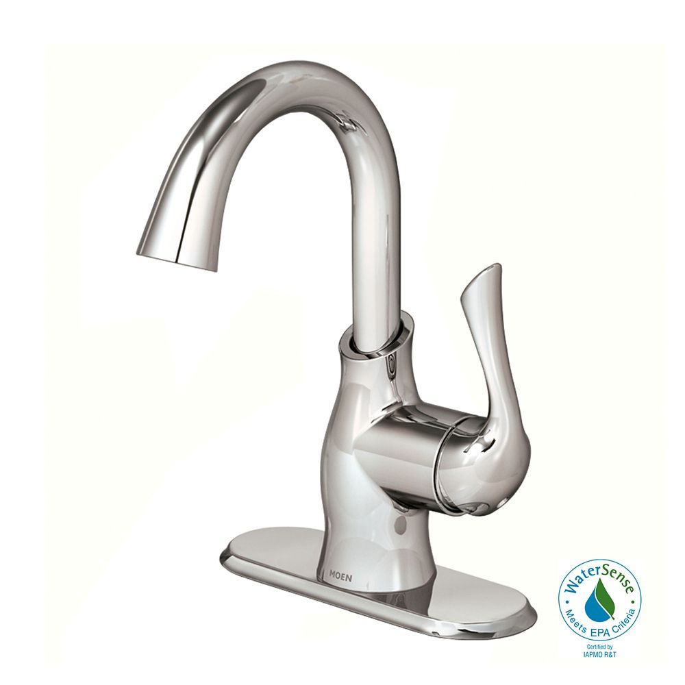 Moen boutique single handle bathroom faucet in chrome for Bathroom faucet finishes