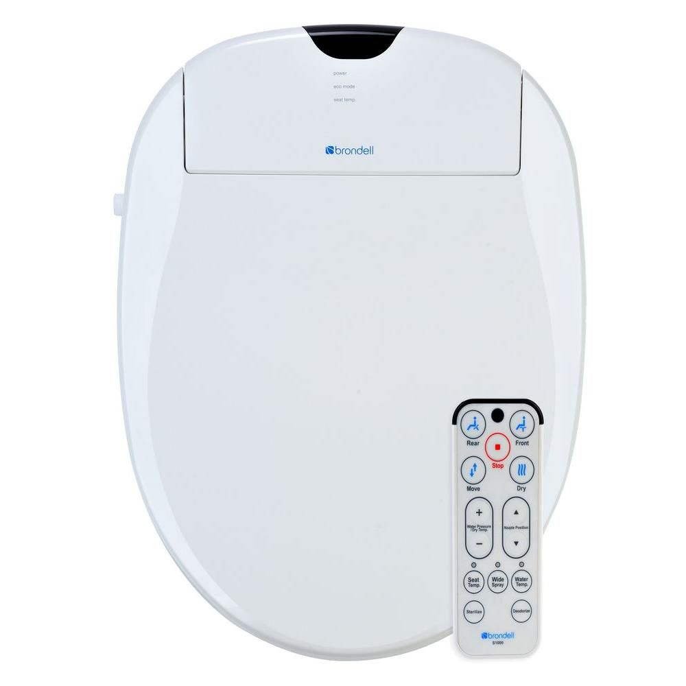 Brondell White Elongated Heated Bidet Toilet Seat S1000