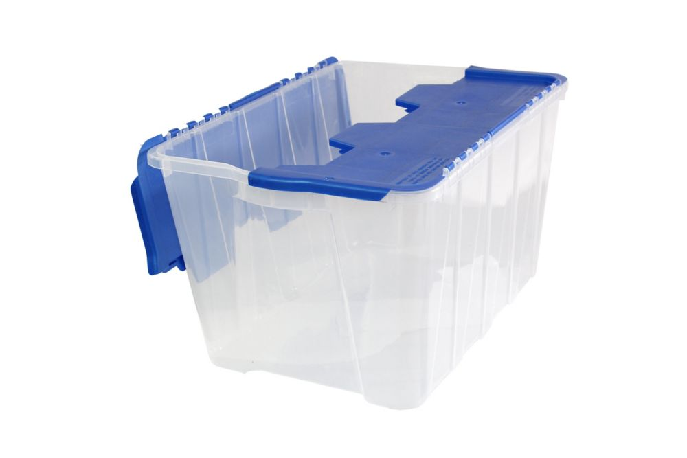 Storage Tote Flip-Top - 49L - Clear/Pearl Blue