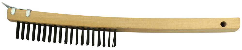 Wood Handle, High Carbon Steel Wire Brushes 3X19 W/SCRAPER,14 Inch Long Handle