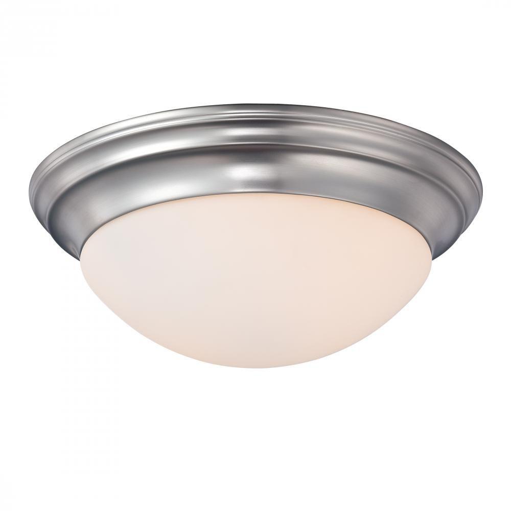 Monroe 2 Light Brushed Nickel Incandescent Flush Mount with a White Alabaster Shade