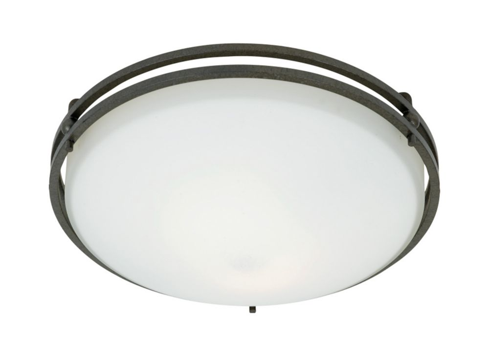 Monroe 2-Light Iron Gate Flush Mount with an Opal Etched Shade