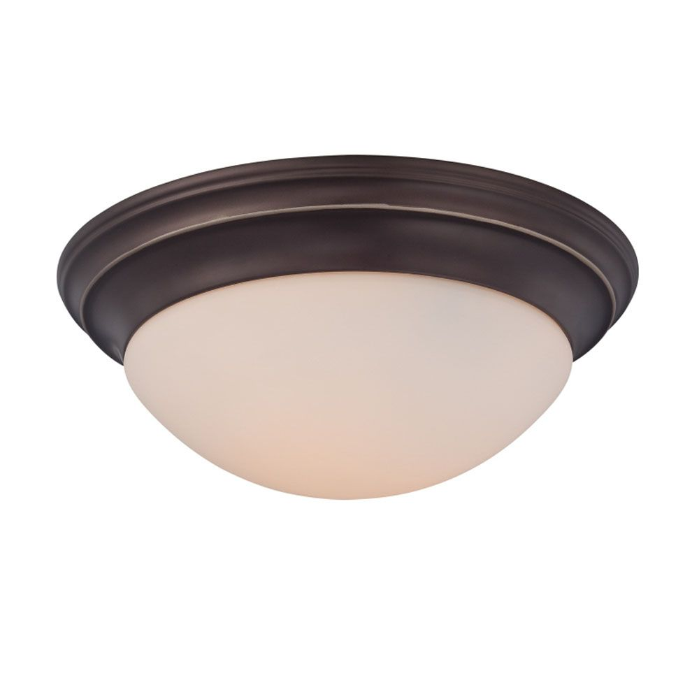 Monroe 2-Light Palladian Bronze Flush Mount with a White Alabaster Shade