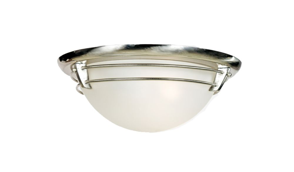 Monroe 3 Light Brushed Nickel Incandescent Flush Mount with an Acid Etched  Shade
