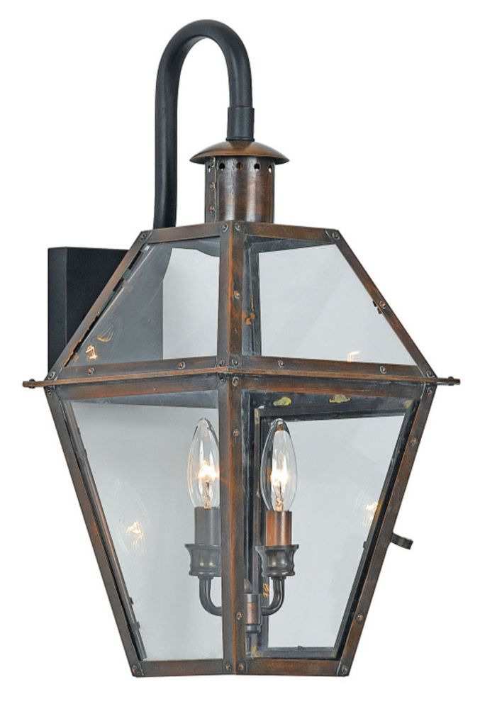 Monroe 2-Light Aged Copper Outdoor Wall Lantern