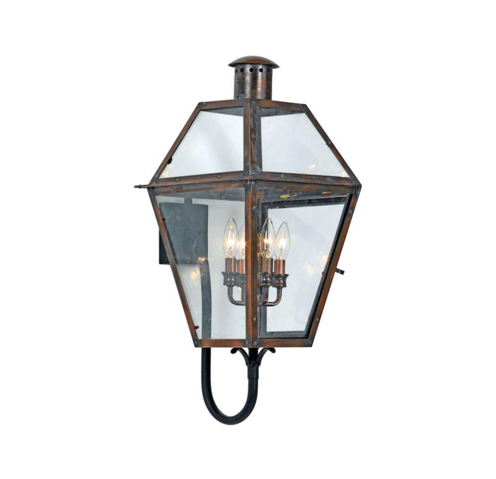 Monroe 4-Light Aged Copper Outdoor Wall Lantern