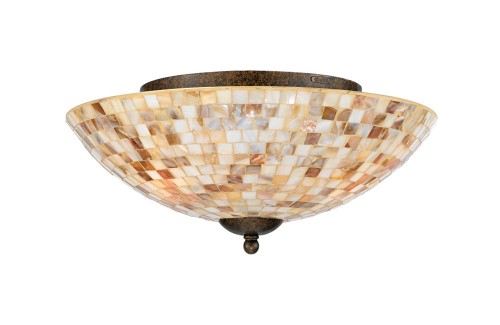Monroe 3 Light Malaga Incandescent Flush Mount with a Penshell Shade CLI-QU131336 in Canada