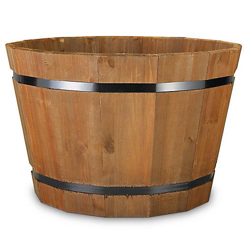 Jardiniere tonneau en bois - 23po
