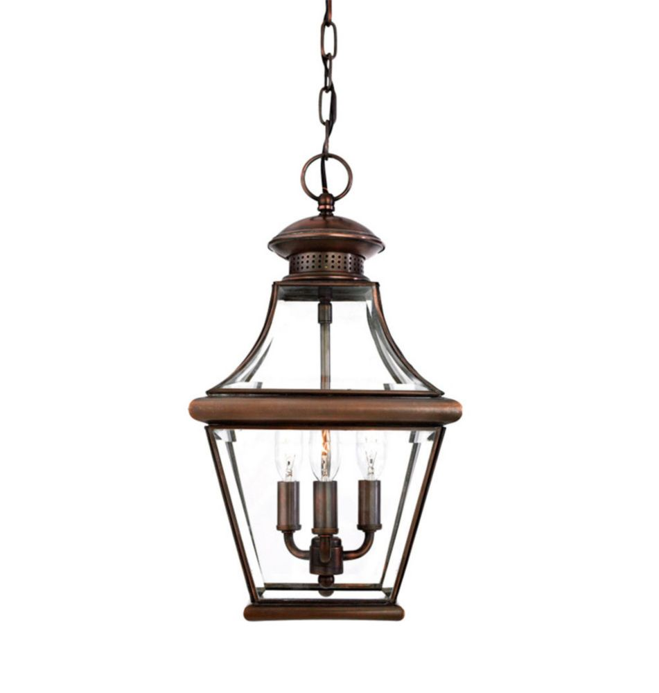 Monroe 3-Light Aged Copper Outdoor Pendant Light