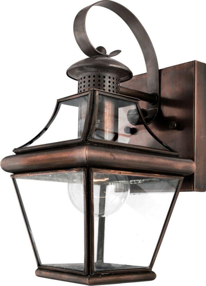 Monroe 1-Light Aged Copper Outdoor Wall Lantern
