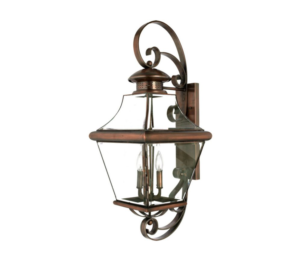 Monroe 4 Light Aged Copper Outdoor Incandescent Wall Lantern