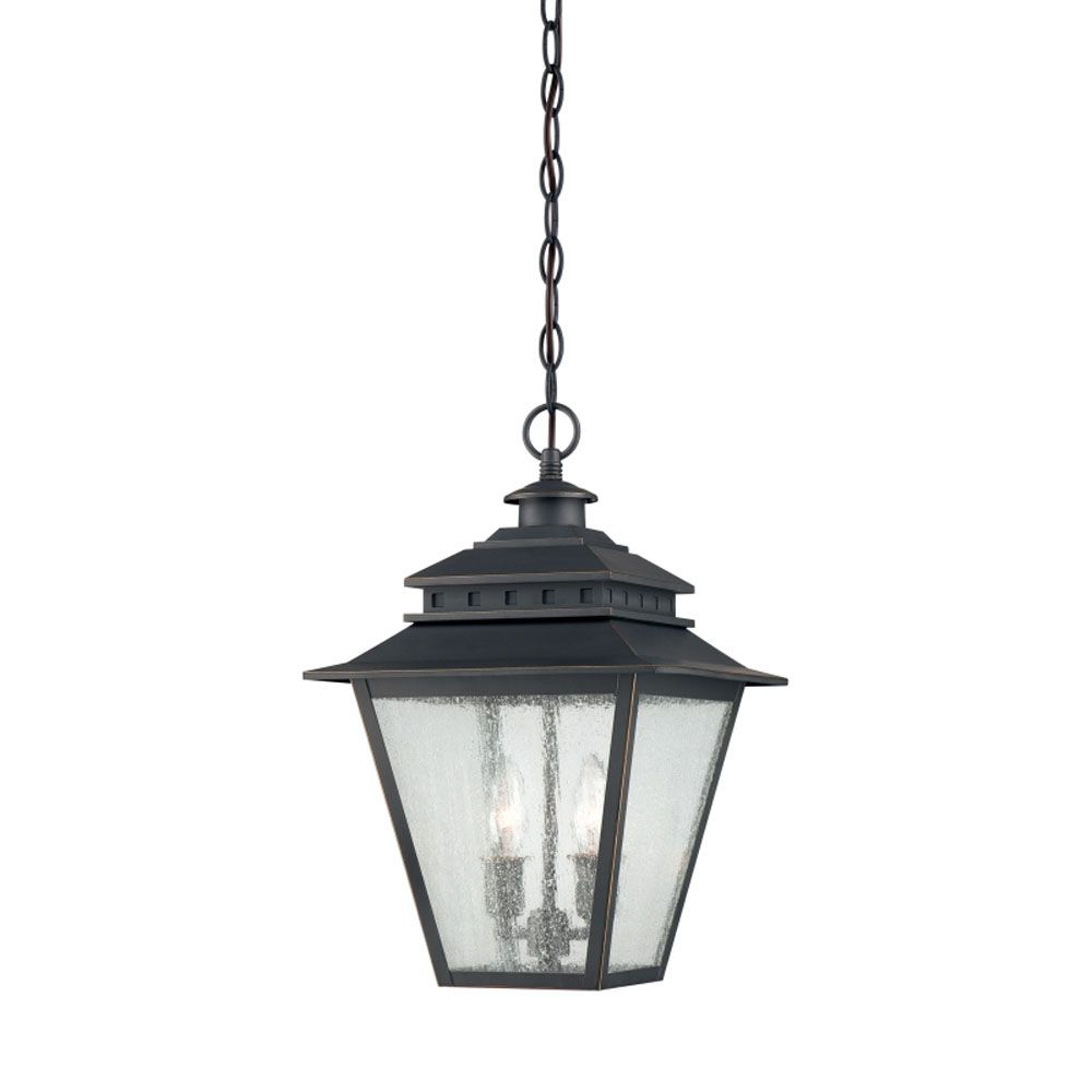 Monroe 2-Light Weathered Bronze Outdoor Pendant Light