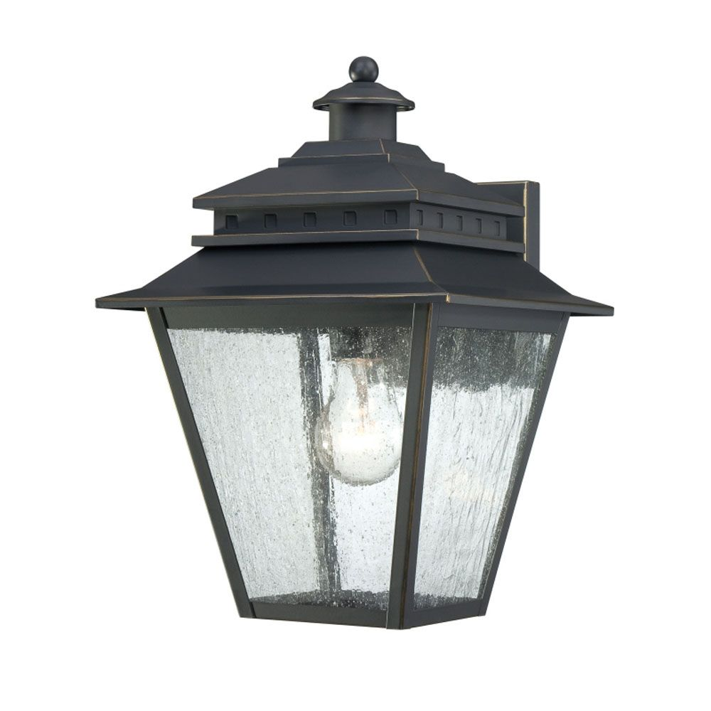 Monroe 1-Light Weathered Bronze Outdoor Wall Lantern